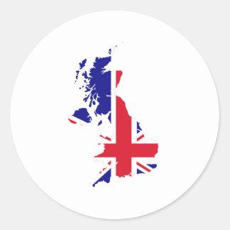 Bandera del mapa de Gran Bretaña Etiqueta Redonda