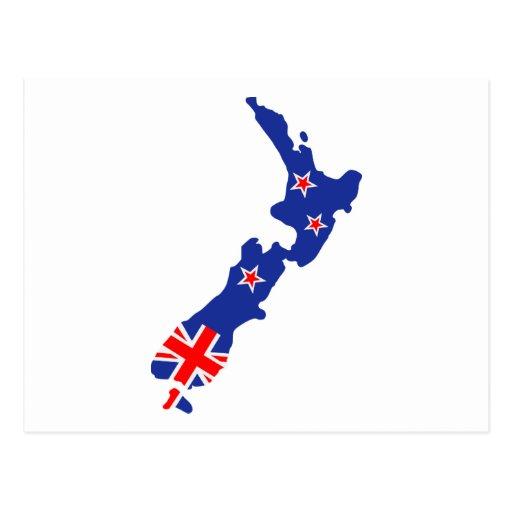 Bandera del mapa de Nueva Zelanda Tarjetas Postales