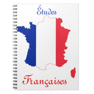 Bandera del mapa del francés libretas