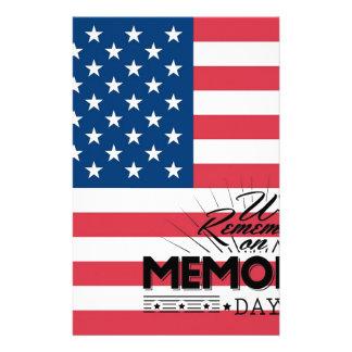 Bandera del Memorial Day Papelería