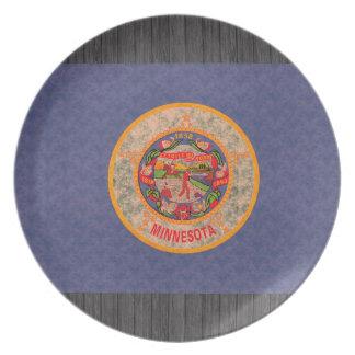 Bandera del Minnesotan del modelo del vintage Platos