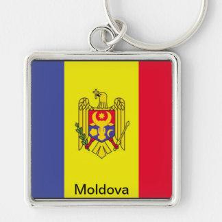 Bandera del Moldavia Llavero Cuadrado Plateado