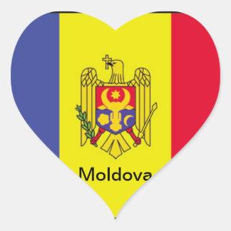 Bandera del Moldavia Pegatina En Forma De Corazón