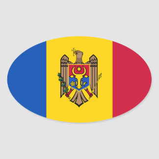 Bandera del Moldavia Pegatina Ovalada
