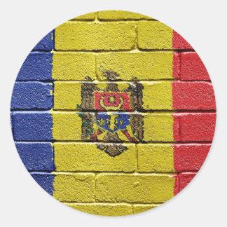 Bandera del Moldavia Pegatina Redonda