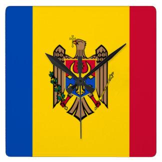 Bandera del Moldavia Reloj Cuadrado