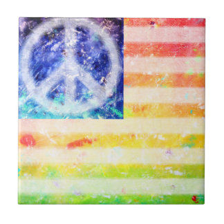 Bandera del monstruo de la paz del Hippie Azulejo Cuadrado Pequeño