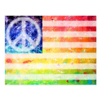 Bandera del monstruo de la paz del Hippie Tarjetas Postales
