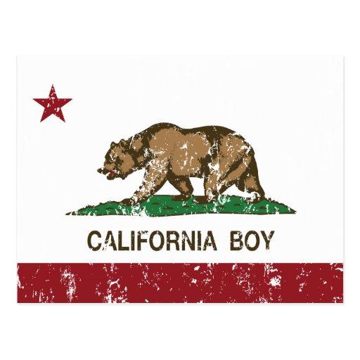 Bandera del muchacho de California Tarjetas Postales