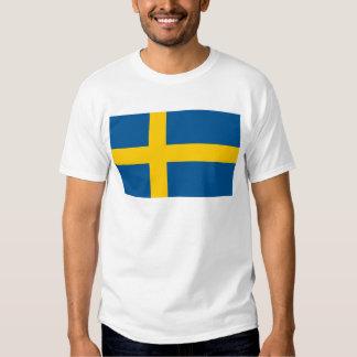 Bandera del mundo de Suecia Remeras