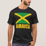 Bandera del negro del texto amarillo de Jamaica Playera