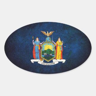 Bandera del neoyorquino colcomanias óval personalizadas