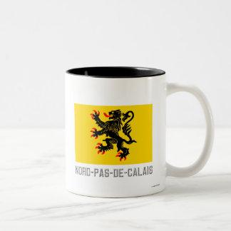 Bandera del Nord-Pas-de-Calais con nombre Taza De Dos Tonos