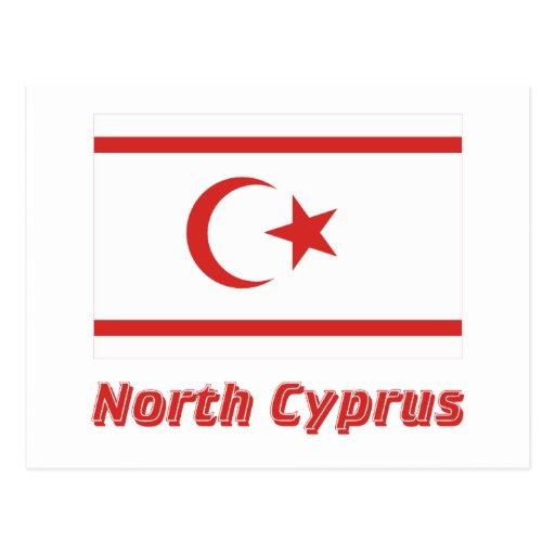 Bandera del norte de Chipre con nombre Postal