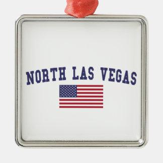 Bandera del norte de Las Vegas los E.E.U.U. Adorno Navideño Cuadrado De Metal