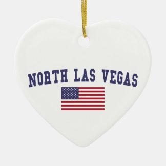 Bandera del norte de Las Vegas los E.E.U.U. Adorno Navideño De Cerámica En Forma De Corazón