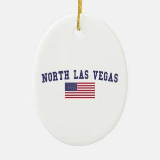 Bandera del norte de Las Vegas los E.E.U.U. Adorno Navideño Ovalado De Cerámica