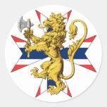 Bandera del noruego de la cruz del león de Noruega Etiquetas Redondas