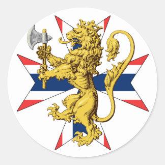 Bandera del noruego de la cruz del león de Noruega Pegatina Redonda