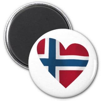 Bandera del noruego del corazón iman de frigorífico