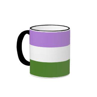 Bandera del orgullo de Genderqueer Taza De Dos Colores