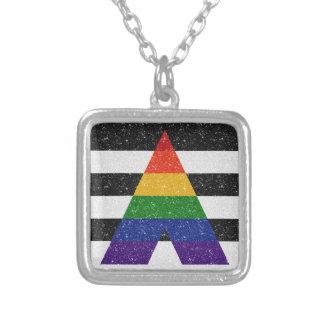 Bandera del orgullo del aliado del brillo LGBT Collar Plateado