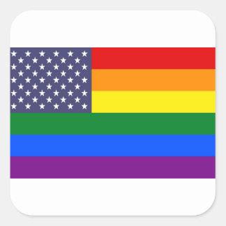 Bandera del orgullo del arco iris de los E.E.U.U. Pegatina Cuadrada