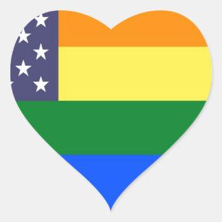 Bandera del orgullo del arco iris de los E.E.U.U. Pegatina En Forma De Corazón