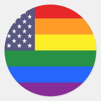 Bandera del orgullo del arco iris de los E.E.U.U. Pegatina Redonda
