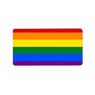 Bandera del orgullo del arco iris etiqueta de dirección