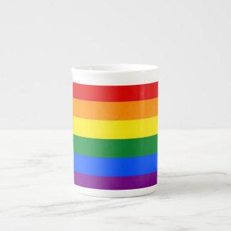 Bandera del orgullo del arco iris tazas de porcelana