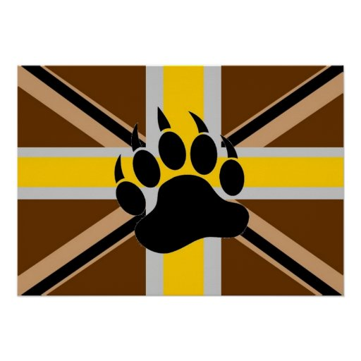 Bandera del orgullo del oso de Británicos Póster