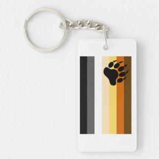 Bandera del orgullo del oso llavero rectangular acrílico a doble cara