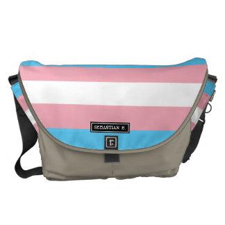 Bandera del orgullo del transexual bolsas de mensajería