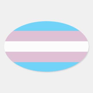 Bandera del orgullo del transexual calcomania de ovaladas