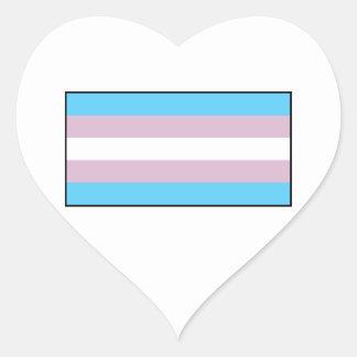 Bandera del orgullo del transexual pegatina en forma de corazón