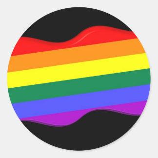 bandera del orgullo gay 3D Etiquetas Redondas