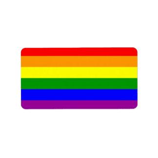Bandera del orgullo gay/bandera del arco iris etiqueta de dirección