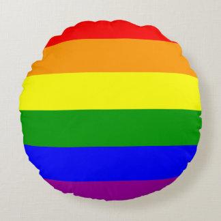 Bandera del orgullo gay cojín redondo