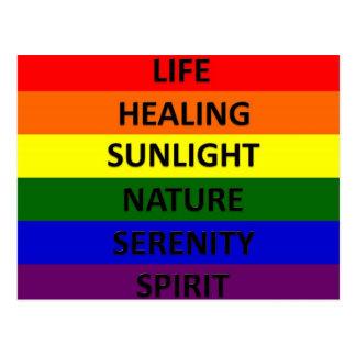 Bandera del orgullo gay con significados postales
