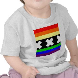 Bandera del orgullo gay de Amsterdam Camisetas