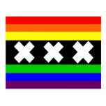 Bandera del orgullo gay de Amsterdam Tarjetas Postales
