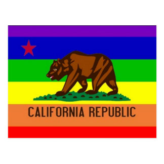 Bandera del orgullo gay de California Tarjetas Postales