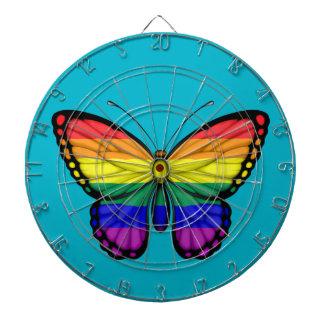Bandera del orgullo gay de la mariposa del arco tablero dardos