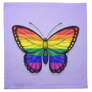 Bandera del orgullo gay de la mariposa del arco ir servilleta de papel