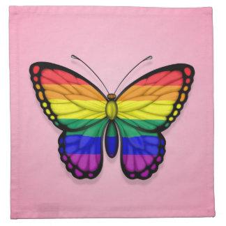 Bandera del orgullo gay de la mariposa del arco ir servilletas imprimidas
