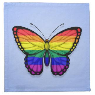 Bandera del orgullo gay de la mariposa del arco ir servilleta imprimida