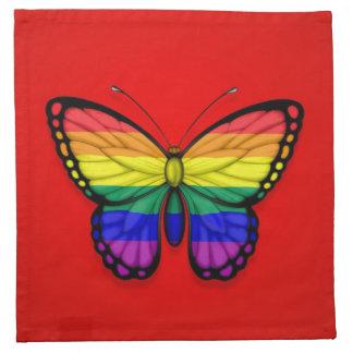 Bandera del orgullo gay de la mariposa del arco ir servilleta
