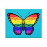 Bandera del orgullo gay de la mariposa del arco lona envuelta para galerías
