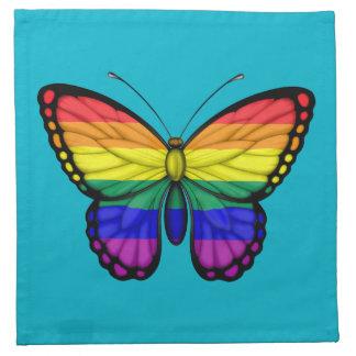 Bandera del orgullo gay de la mariposa del arco servilletas de papel